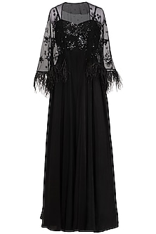 Black Embroidered Jumpsuit With Cape