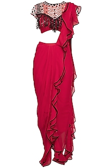 Red Embroidered Ruffled Drape Saree Set
