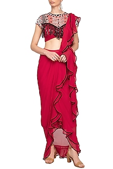 Red Embroidered Ruffled Drape Saree Set by Mani Bhatia