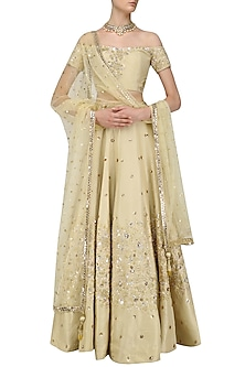Gold and Rose Gold Cutdana Embroidered Lehenga Set by Mani Bhatia