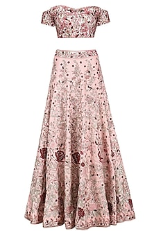 Pink Printed Blouse and Embroidered Lehenga Set by Mani Bhatia