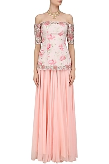 Pink Embroidered Short Kurta and Sharara Set by Mani Bhatia