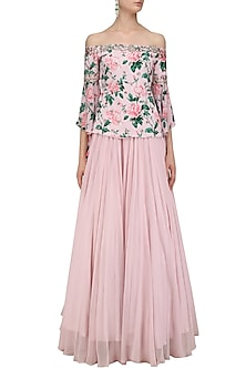 Pink Floral Print Bell Sleeve Blouse and Skirt Set by Mani Bhatia