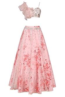 Rose Pink Ruffle Blouse with Printed Lehenga Skirt Set