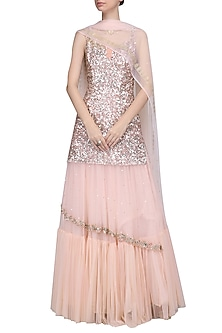 Powder Pink Embroidered Kurta with Lehenga Skirt Set by Mani Bhatia