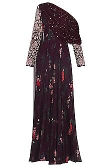 Deep Burgundy One Shoulder Embroidered Anarkali with Belt