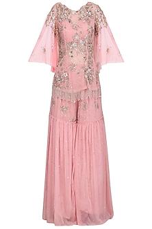 Pink Embellished Kurta with Sharara Pants Set