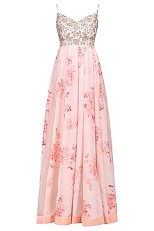 Rose Pink Printed Anarkali with Embroidered Dupatta by Mani Bhatia