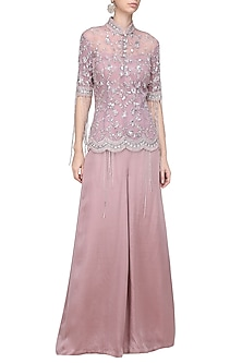 Lilac Embellished Jacket with Palazzo Pants by Mani Bhatia