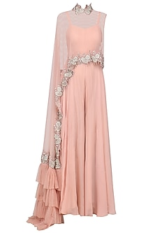 Tea Pink Jumpsuit with Ruffle Embroidered Cape