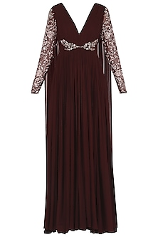 Deep Wine Embroidered Long Drape Anarkali by Mani Bhatia