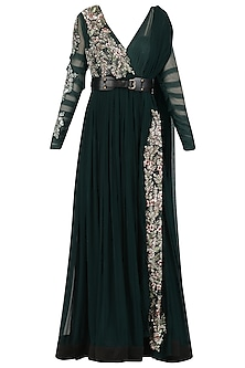 Dark Green Embroidered Anarkali with Attached Dupatta and Belt by Mani Bhatia