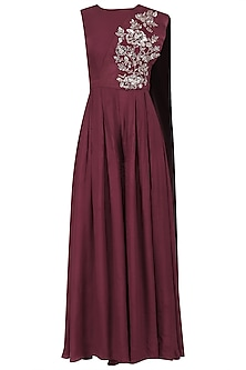 Maroon Jumpsuit with Embroidered Suede Drape by Mani Bhatia