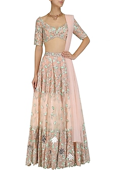 Peach and Green Resham Embroidered Lehenga Set by Mani Bhatia