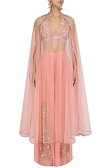 Blush Pink Embroidered Blouse, Palazzo Pants and Cape Set by Mani Bhatia