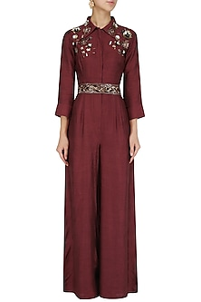 Maroon 3D Sequins Embellished Jumpsuit with Belt by Mani Bhatia