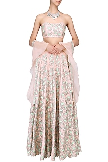 Pink and green embroidered lehenga set by Mani Bhatia