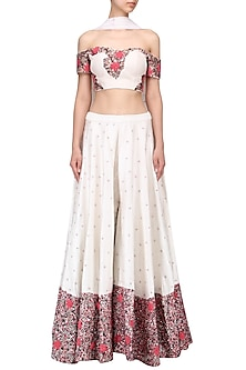 Ivory off shoulder embrroidered blouse with sharara set by Mani Bhatia
