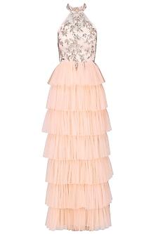 Peach ruffle layered dress by Mani Bhatia