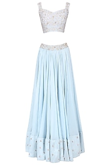 Ice blue embroidered lehenga set by Mani Bhatia