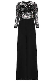 Black Embroidered Fringe Jumpsuit