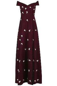 Maroon Embroidered Gown by Mani Bhatia