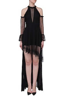 Black High Low Lace Dress by Mani Bhatia