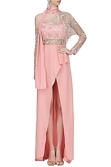 Baby Pink Embroidered Dress by Mani Bhatia