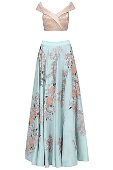 Teal Blue and Pink Embroidered Lehenga Set by Mani Bhatia