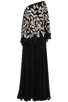 Black Leaf Embroidered One Shoulder Cape with Palazzo Pants