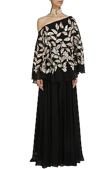 Black Leaf Embroidered One Shoulder Cape with Palazzo Pants by Mani Bhatia