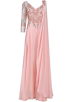 Baby Pink Floral Embroidered One Sleeved Jumpsuit
