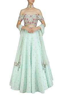Mint Green Embroidered Blouse and Lehenga Set by Mani Bhatia