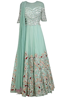 Mint Green Sequins Embroidered Anarkali Set by Mani Bhatia