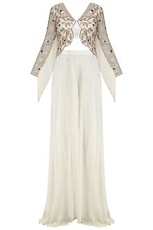 Ivory Scalloped Jacket, Bustier and Palazzo Pants Set by Mani Bhatia
