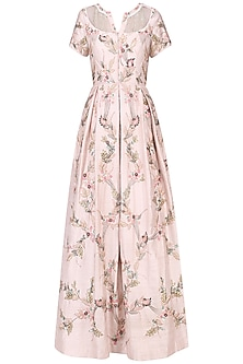 Pink Floral Embroidered Pleated Gown by Mani Bhatia