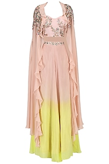 Pink and Yellow Embroidered Bustier, Palazzo Pants and Cape Set by Mani Bhatia