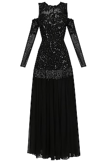 Black Embroidered Anarkali Gown by Mani Bhatia