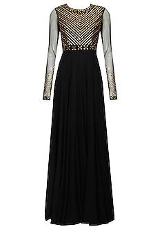 Black sequins and metal work gown anarkali set