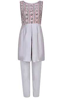 Silver Mist Embroidered Front Open Jacket With Box Pleated Tunic And Straight Pants