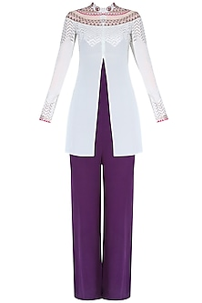 Phantom Purple Tube Jumpsuit With Toosh Color Embroidered Front Open Jacket