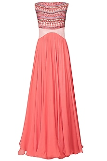 Peach Thread Embroidered Anarkali Set With Detachable Belt