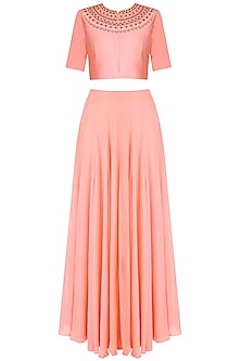 Dusty Pink Embroidered Crop Top With Matching High Waisted Skirt