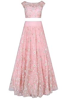 Salmon Pink Floral Embroidered Crop Top With Embroidered Pleated Skirt