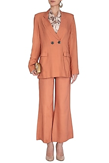 Coral Orange Wide Leg Pants by Meadow