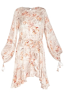 Ivory Printed Dress With Waist Belt by Meadow