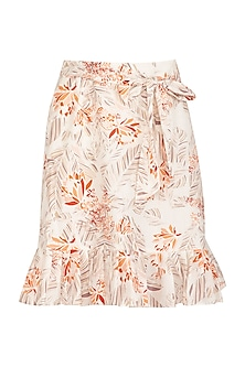 Ivory Printed Skirt With Waist Belt by Meadow