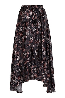 Midnight Blue Printed Asymmetrical Skirt by Meadow