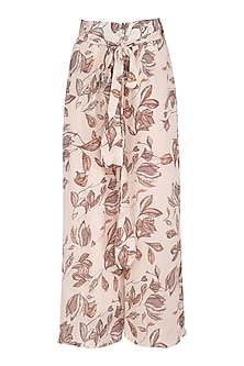 Ivory Printed Flared Pants by Meadow