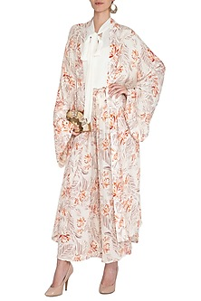 Ivory Printed Kimono Robe by Meadow